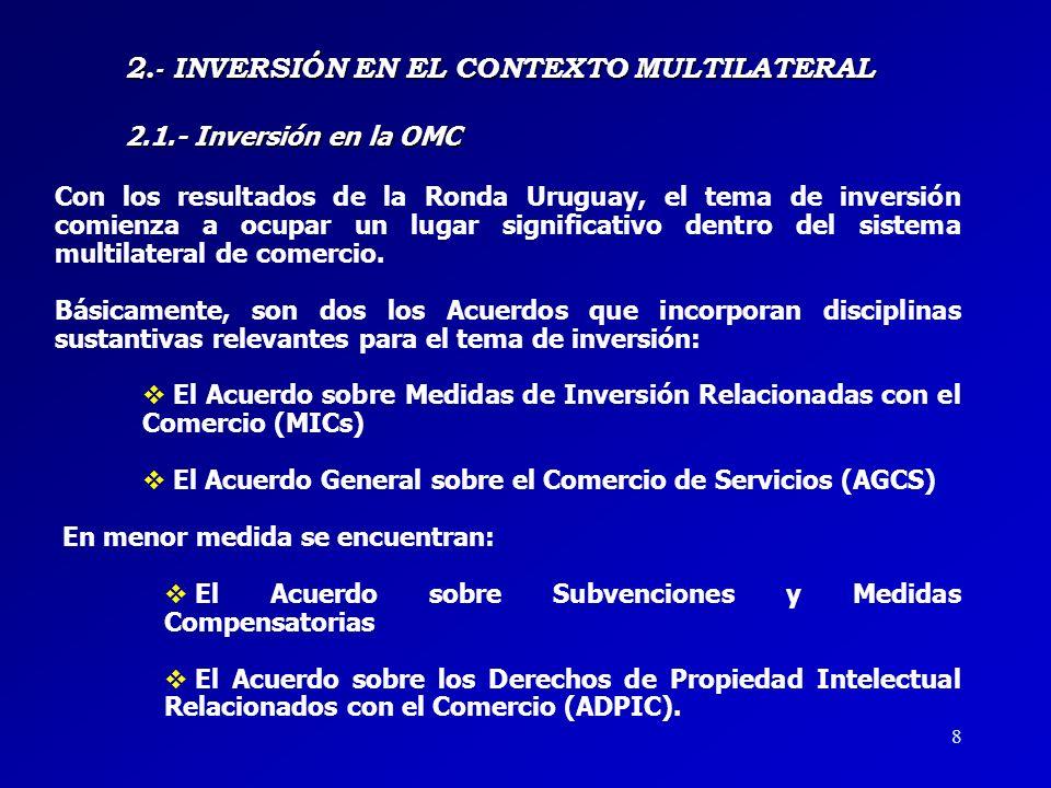 2.- INVERSIÓN EN EL CONTEXTO MULTILATERAL