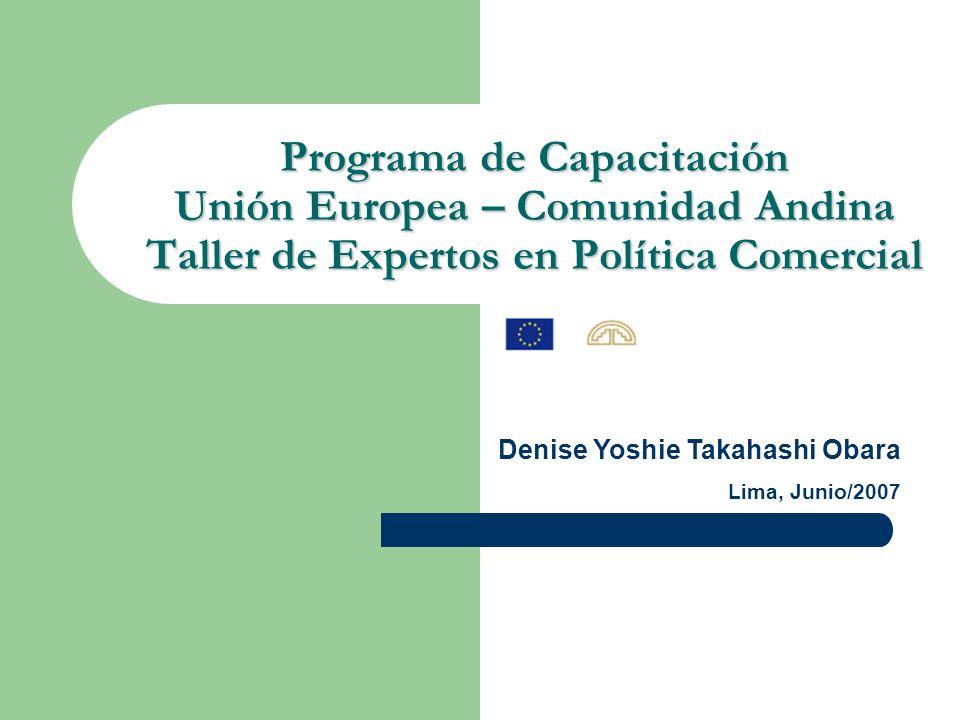 Programa de Capacitación Unión Europea – Comunidad Andina Taller de Expertos en Política Comercial