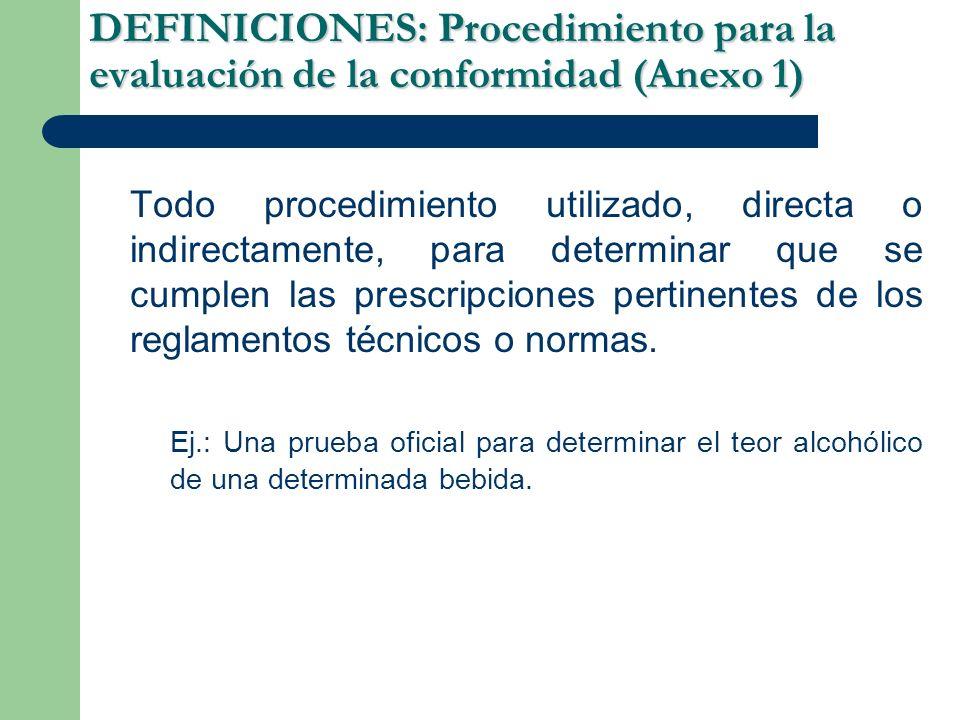 DEFINICIONES: Procedimiento para la evaluación de la conformidad (Anexo 1)