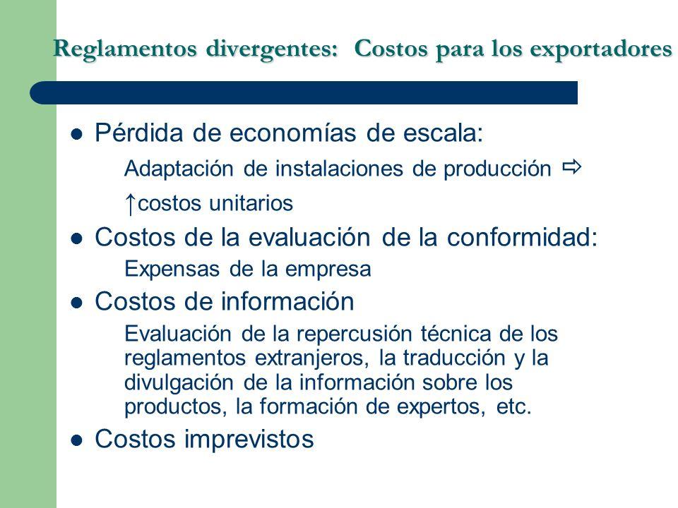Reglamentos divergentes: Costos para los exportadores