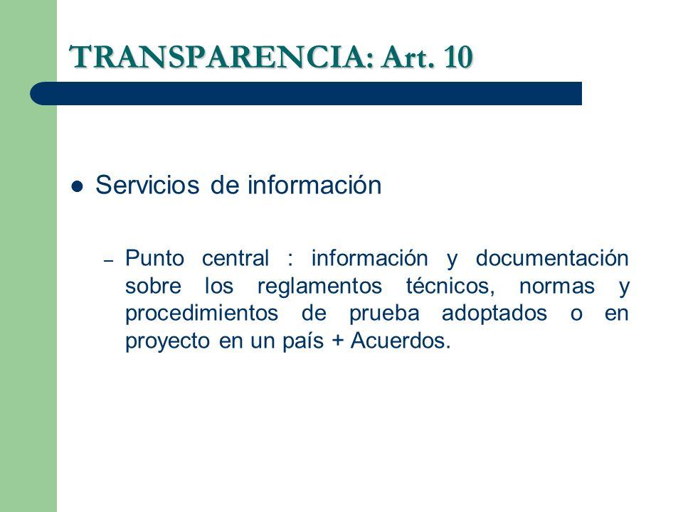 TRANSPARENCIA: Art. 10 Servicios de información