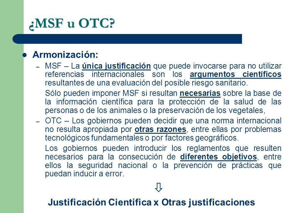 Justificación Científica x Otras justificaciones