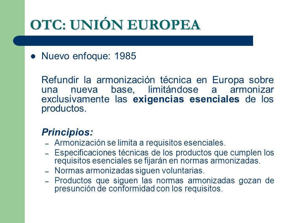 OTC: UNIÓN EUROPEA Nuevo enfoque: 1985
