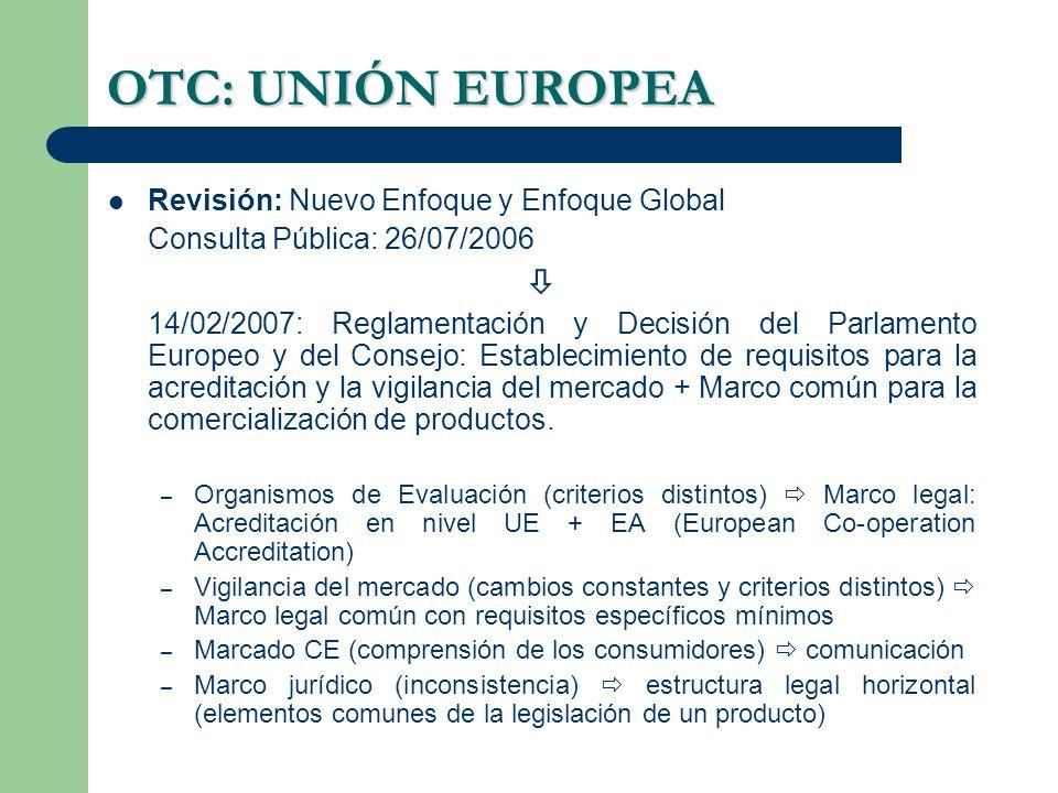 OTC: UNIÓN EUROPEA  Revisión: Nuevo Enfoque y Enfoque Global