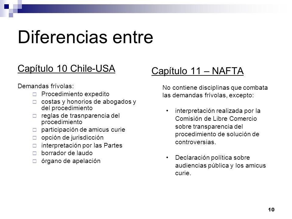 Diferencias entre Capítulo 10 Chile-USA Capítulo 11 – NAFTA