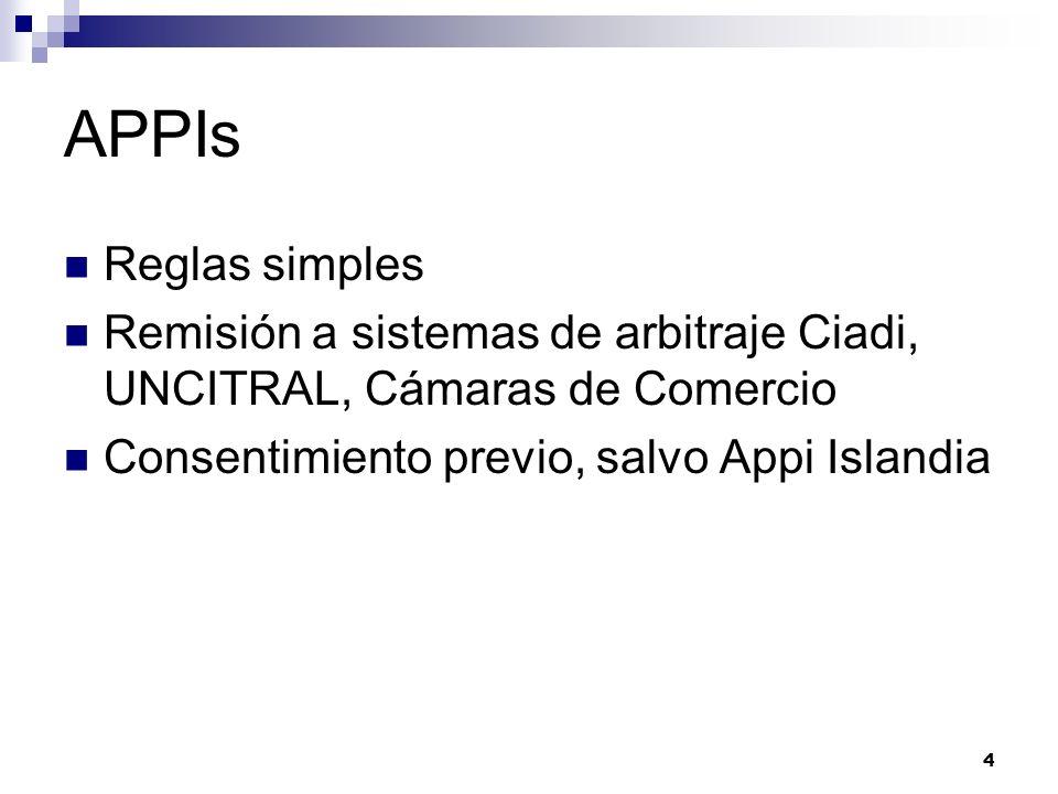 APPIs Reglas simples. Remisión a sistemas de arbitraje Ciadi, UNCITRAL, Cámaras de Comercio.