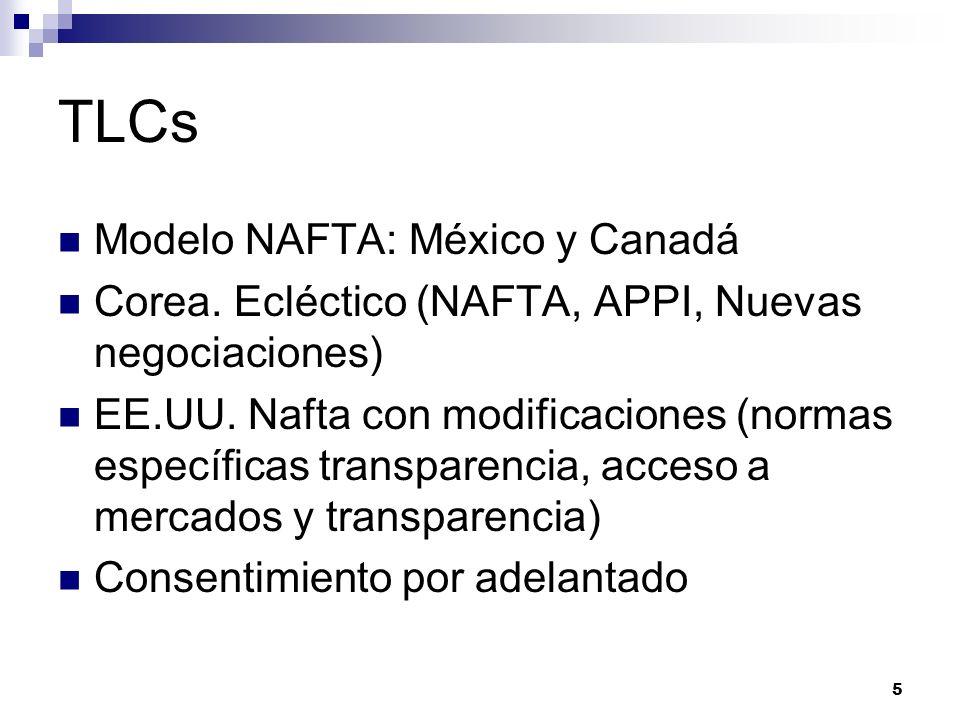 TLCs Modelo NAFTA: México y Canadá