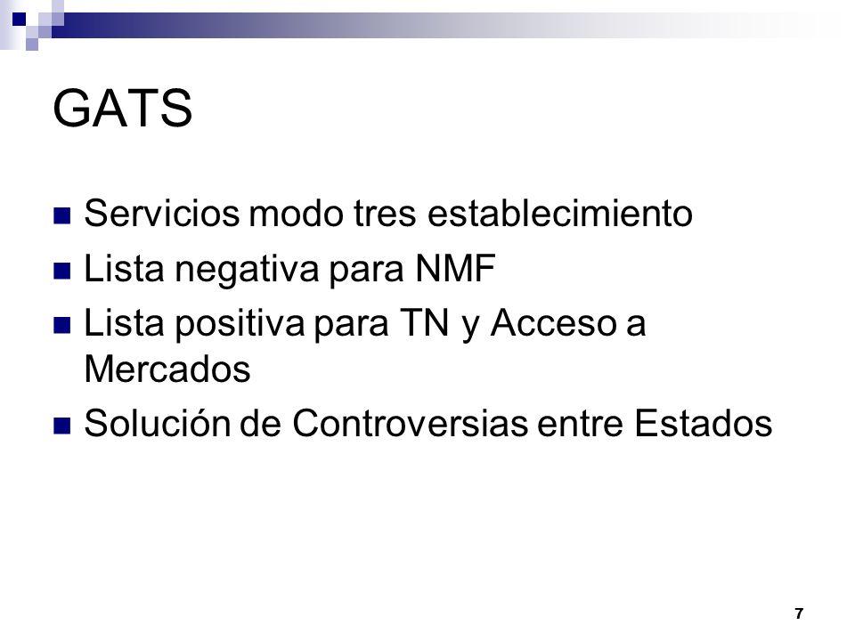 GATS Servicios modo tres establecimiento Lista negativa para NMF