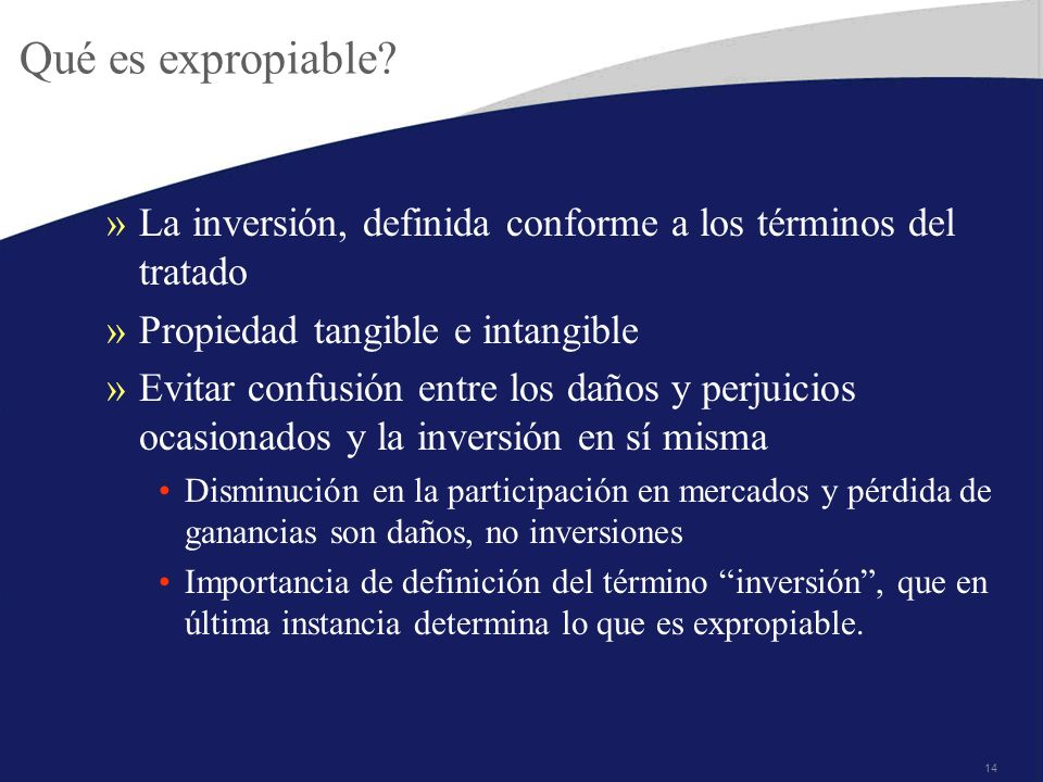 Qué es expropiable La inversión, definida conforme a los términos del tratado. Propiedad tangible e intangible.