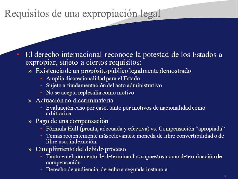 Requisitos de una expropiación legal