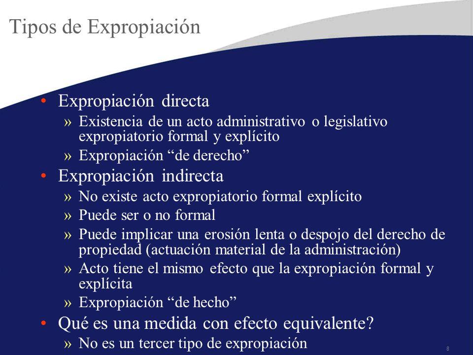 Tipos de Expropiación Expropiación directa Expropiación indirecta