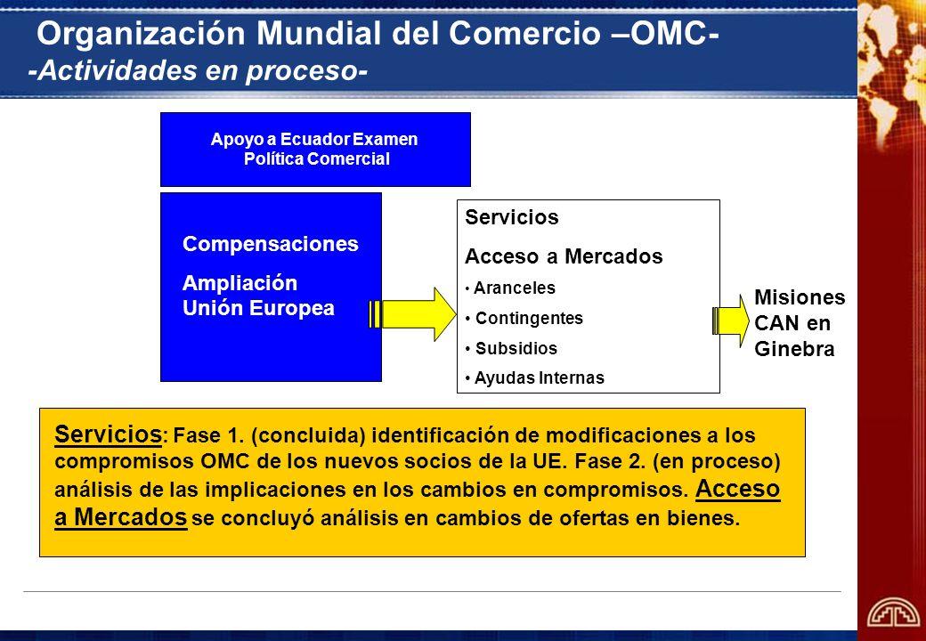 Organización Mundial del Comercio –OMC- -Actividades en proceso-