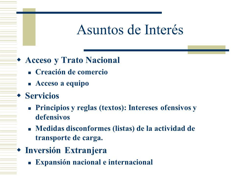 Asuntos de Interés Acceso y Trato Nacional Servicios