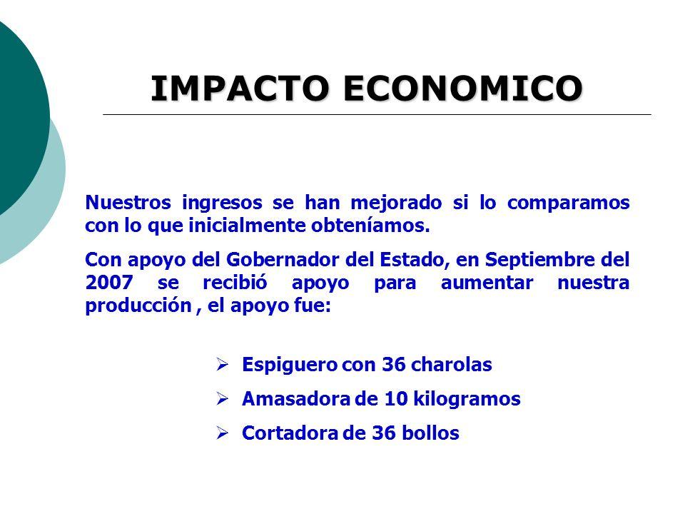 IMPACTO ECONOMICO Nuestros ingresos se han mejorado si lo comparamos con lo que inicialmente obteníamos.
