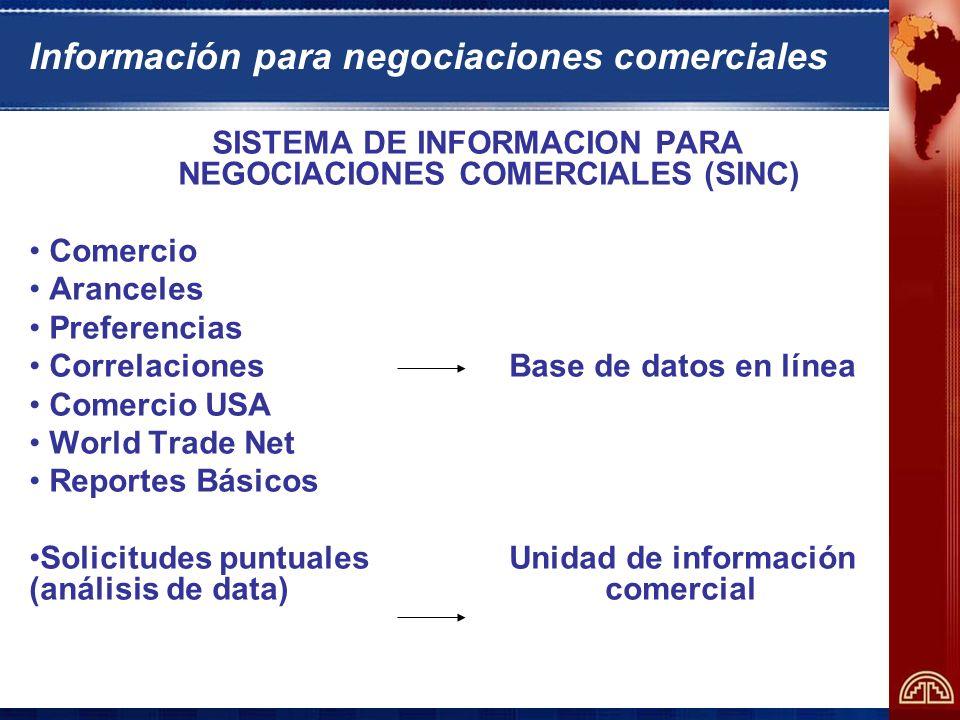 Información para negociaciones comerciales