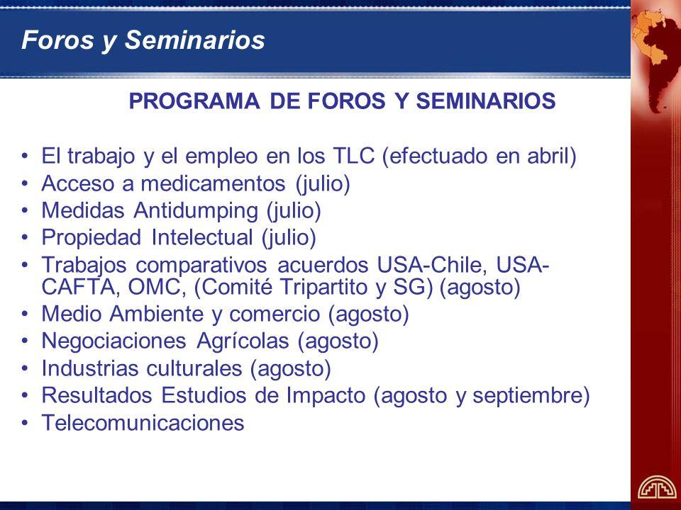 PROGRAMA DE FOROS Y SEMINARIOS