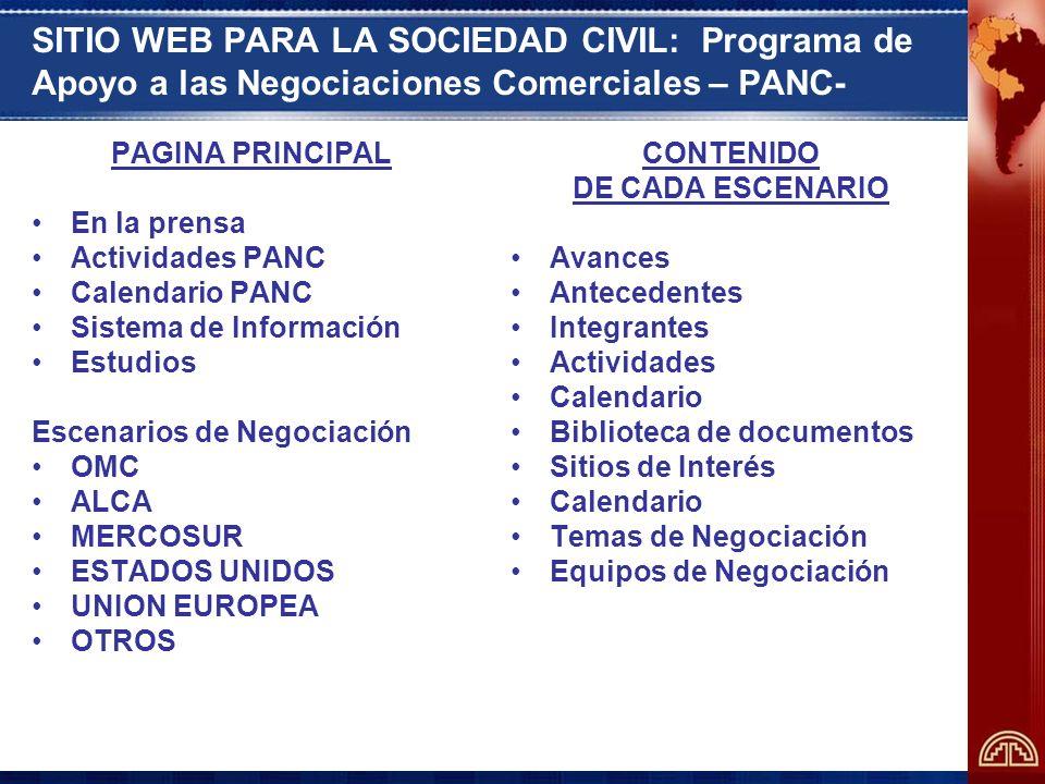 SITIO WEB PARA LA SOCIEDAD CIVIL: Programa de Apoyo a las Negociaciones Comerciales – PANC-