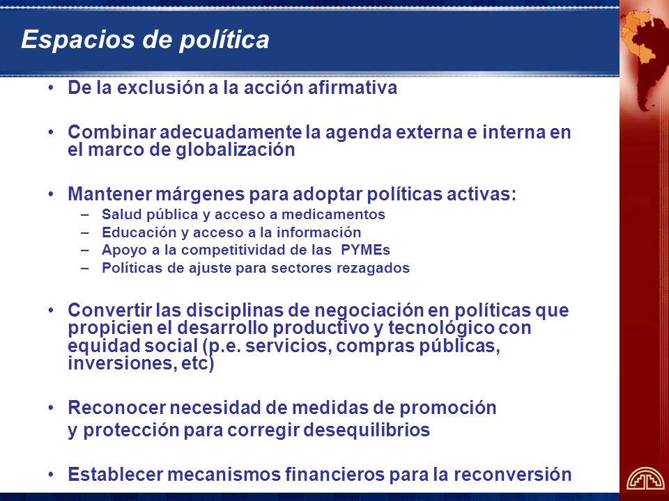 Espacios de política De la exclusión a la acción afirmativa