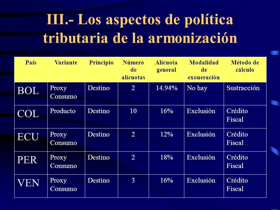 III.- Los aspectos de política tributaria de la armonización