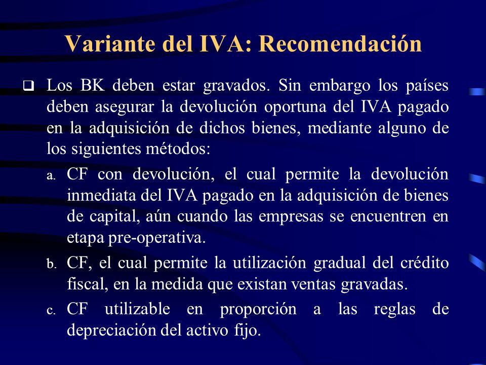 Variante del IVA: Recomendación