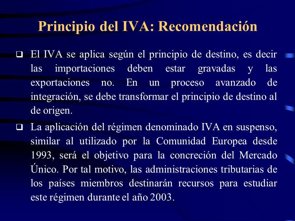 Principio del IVA: Recomendación