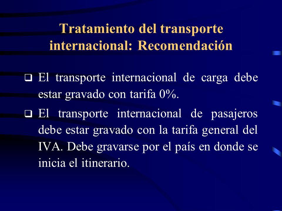 Tratamiento del transporte internacional: Recomendación