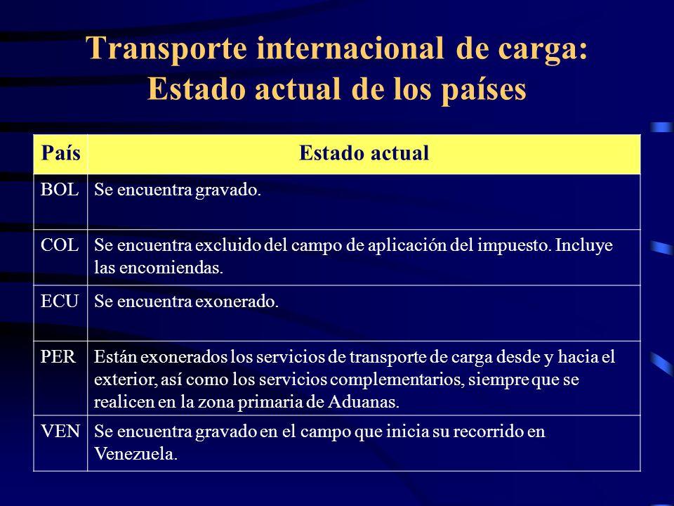 Transporte internacional de carga: Estado actual de los países