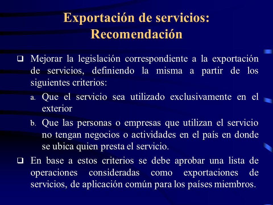 Exportación de servicios: Recomendación