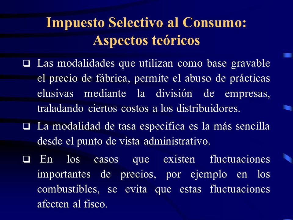 Impuesto Selectivo al Consumo: Aspectos teóricos