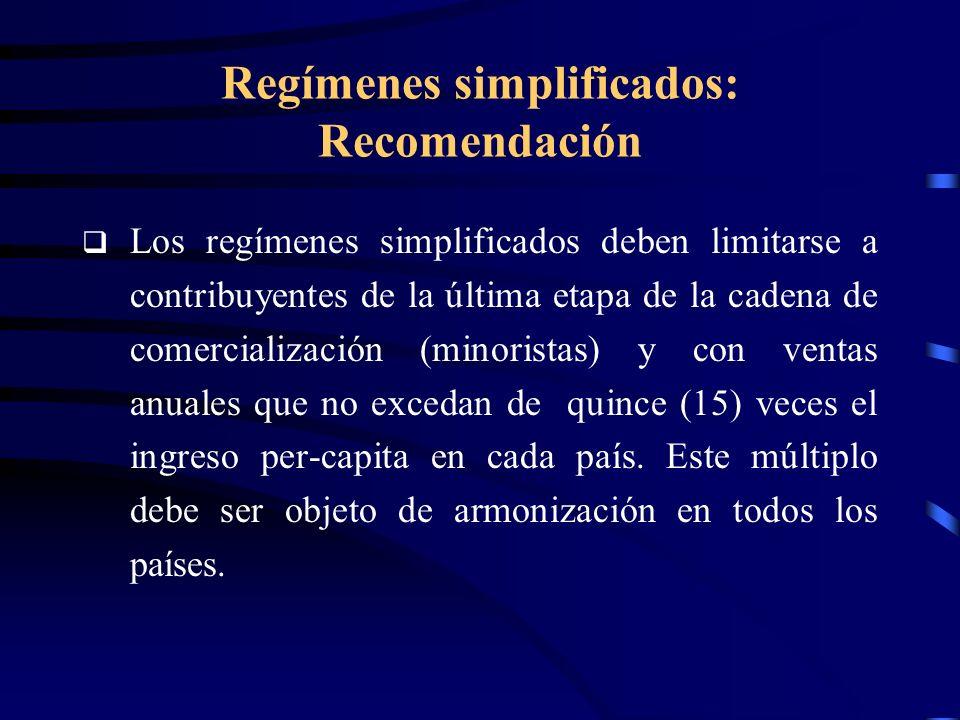 Regímenes simplificados: Recomendación