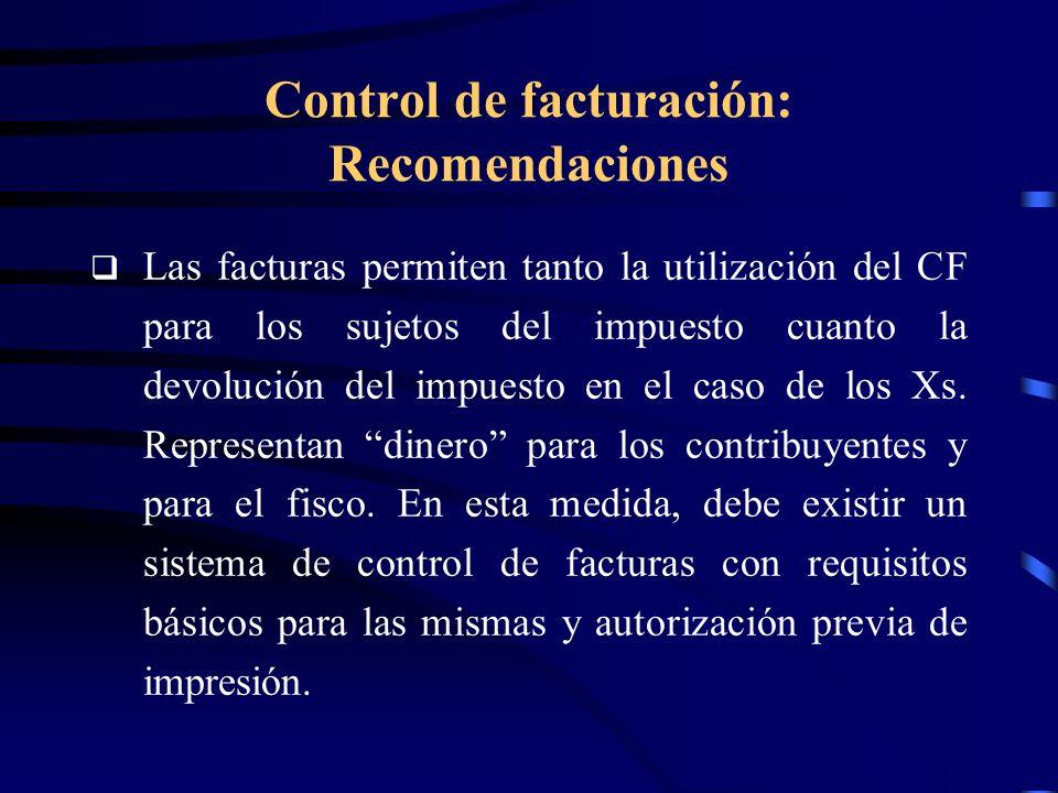 Control de facturación: Recomendaciones