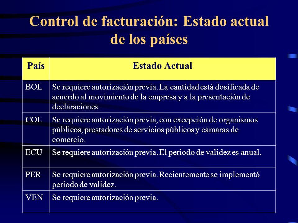 Control de facturación: Estado actual de los países