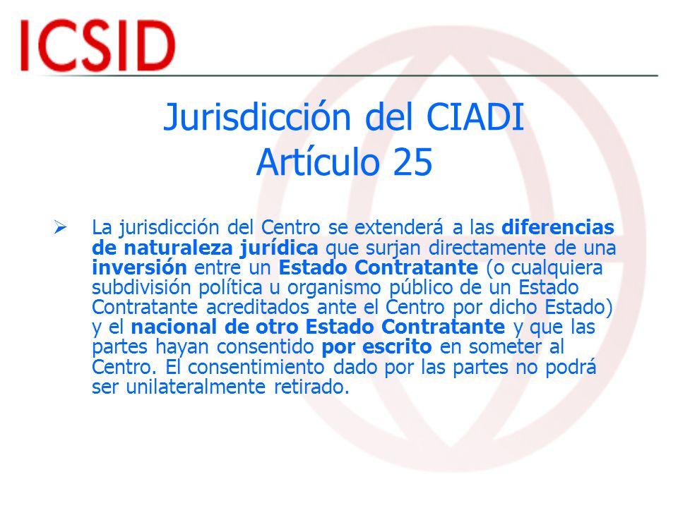 Jurisdicción del CIADI Artículo 25
