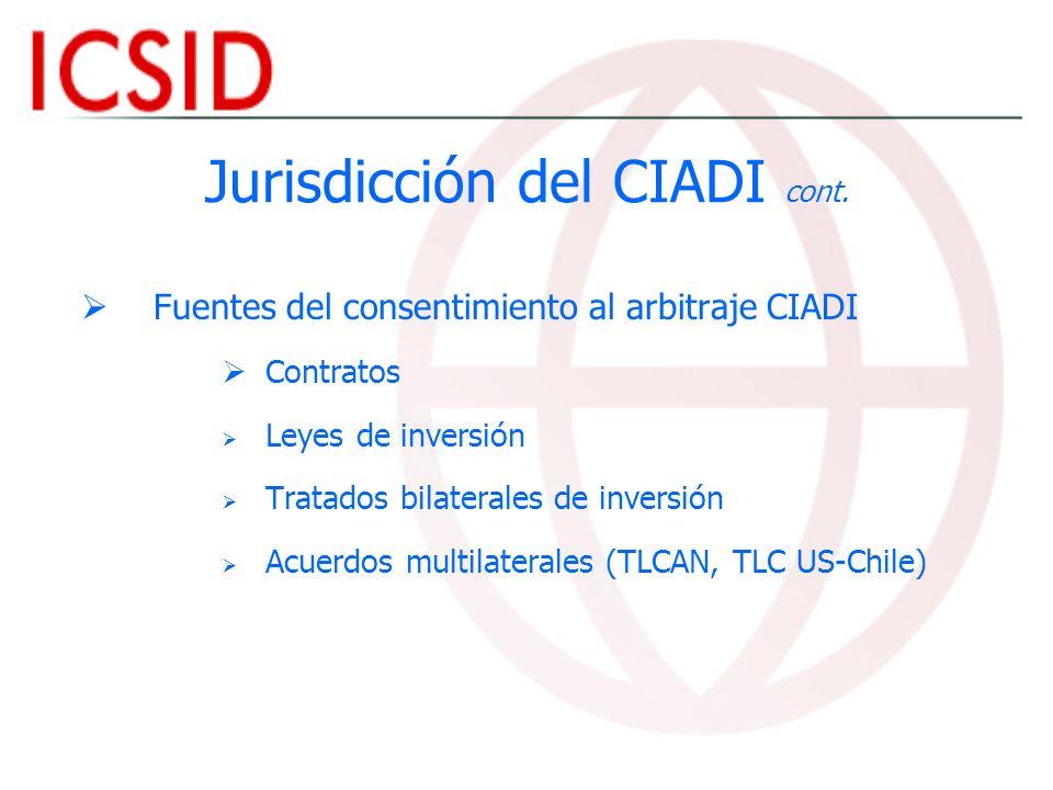 Jurisdicción del CIADI cont.