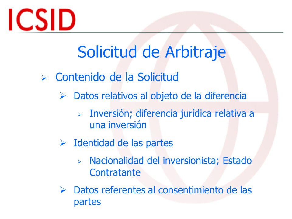 Solicitud de Arbitraje