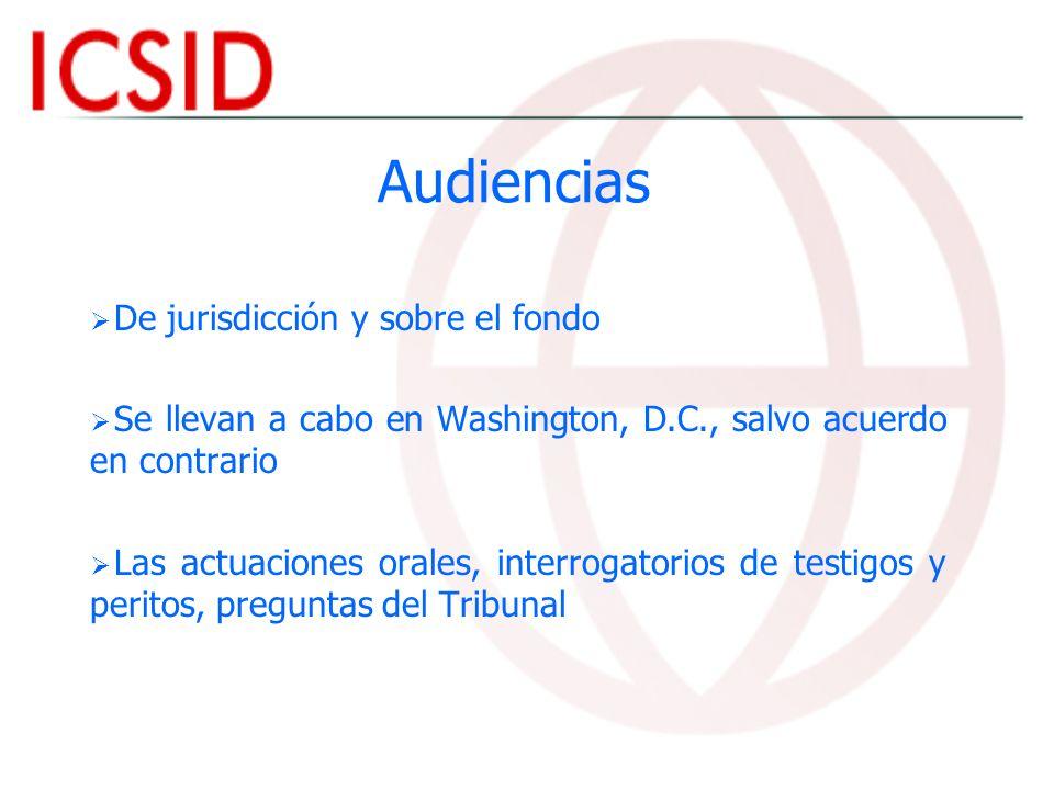 Audiencias De jurisdicción y sobre el fondo