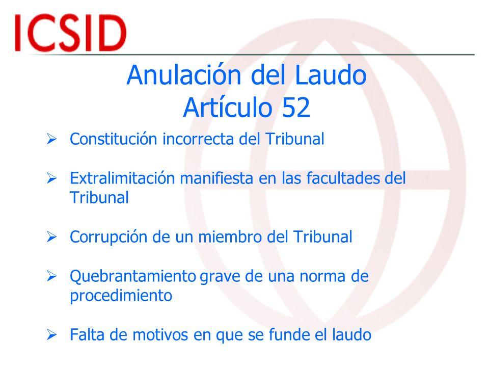 Anulación del Laudo Artículo 52