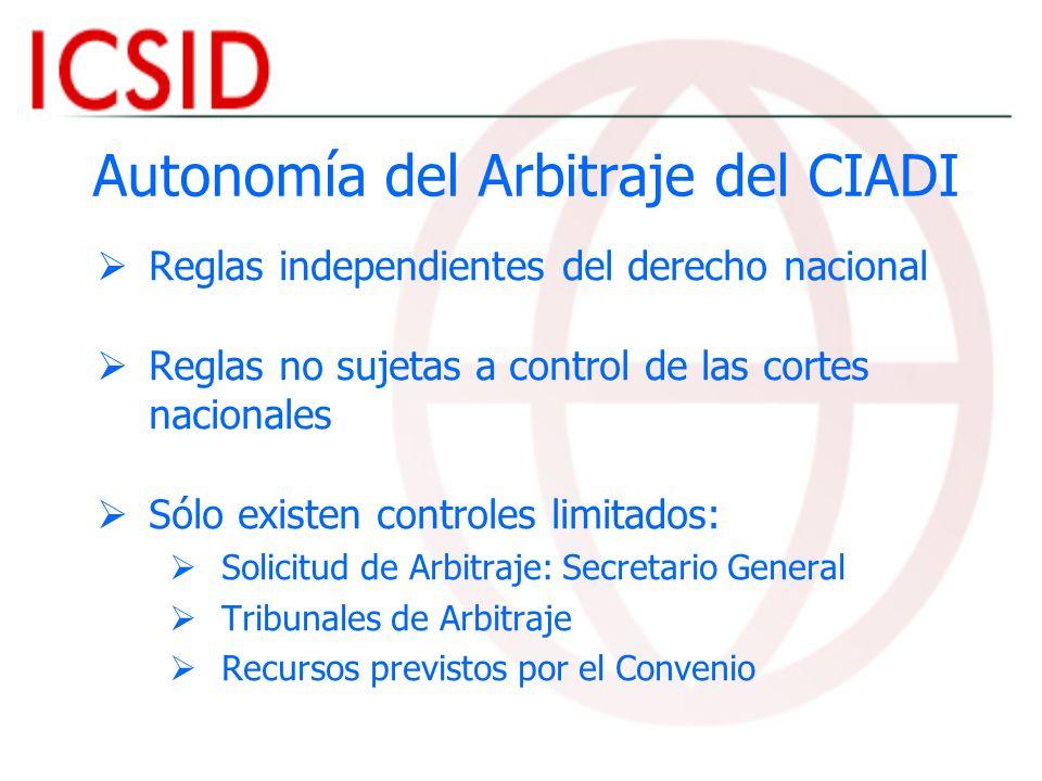 Autonomía del Arbitraje del CIADI