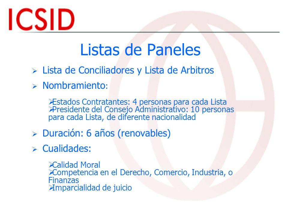 Listas de Paneles Lista de Conciliadores y Lista de Arbitros