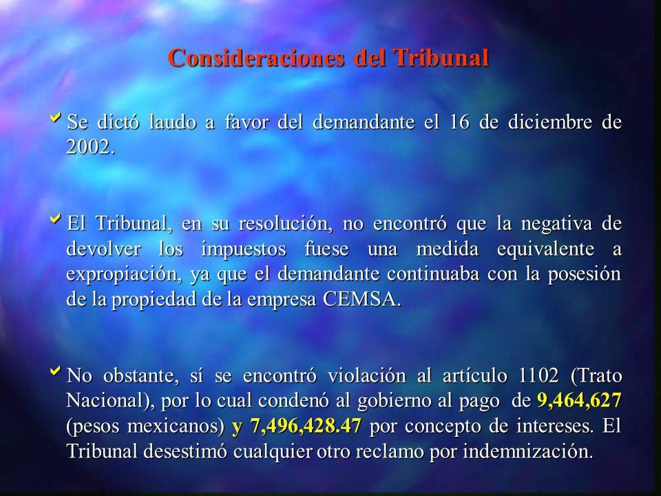 Consideraciones del Tribunal