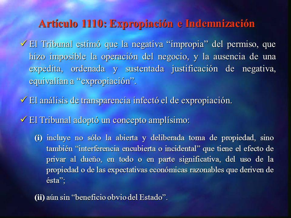 Artículo 1110: Expropiación e Indemnización