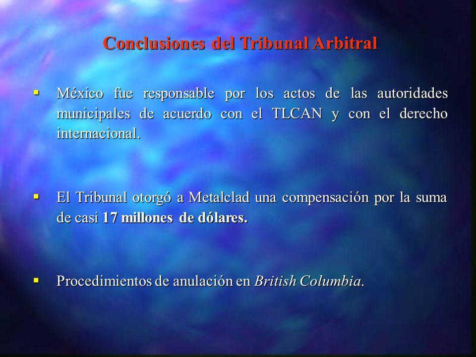 Conclusiones del Tribunal Arbitral