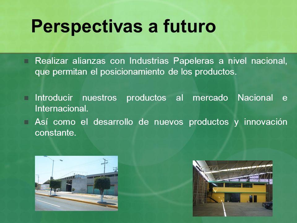 Perspectivas a futuro Realizar alianzas con Industrias Papeleras a nivel nacional, que permitan el posicionamiento de los productos.