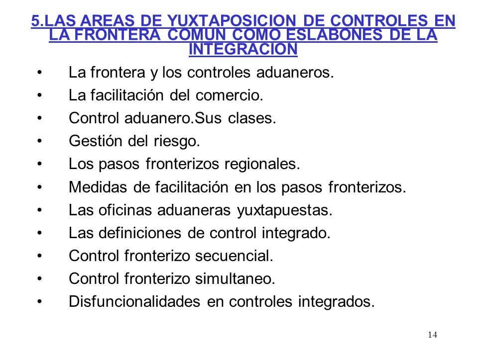 5.LAS AREAS DE YUXTAPOSICION DE CONTROLES EN LA FRONTERA COMUN COMO ESLABONES DE LA INTEGRACION