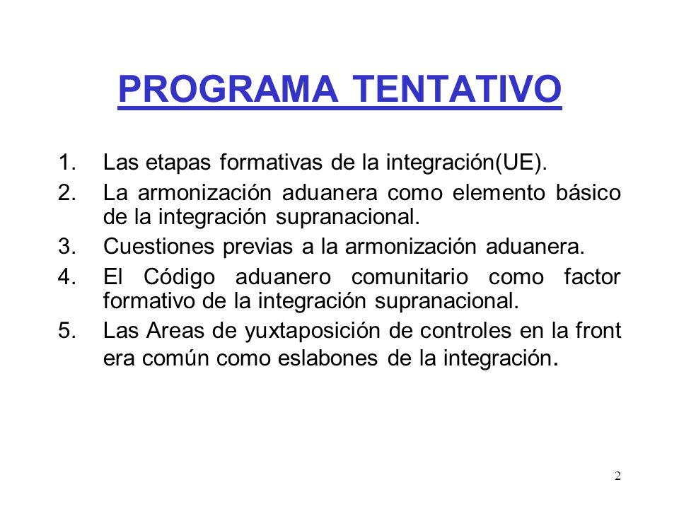 PROGRAMA TENTATIVO Las etapas formativas de la integración(UE).