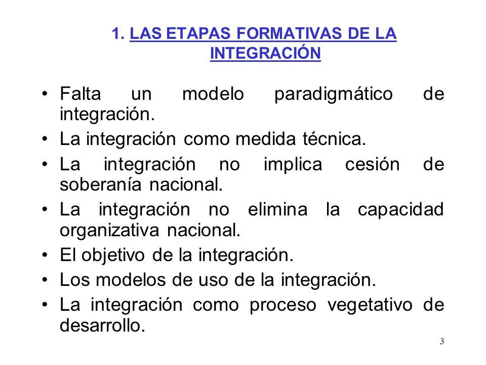 1. LAS ETAPAS FORMATIVAS DE LA INTEGRACIÓN