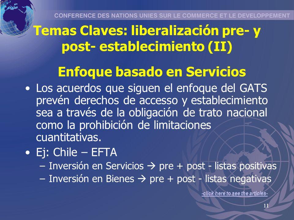 Temas Claves: liberalización pre- y post- establecimiento (II)