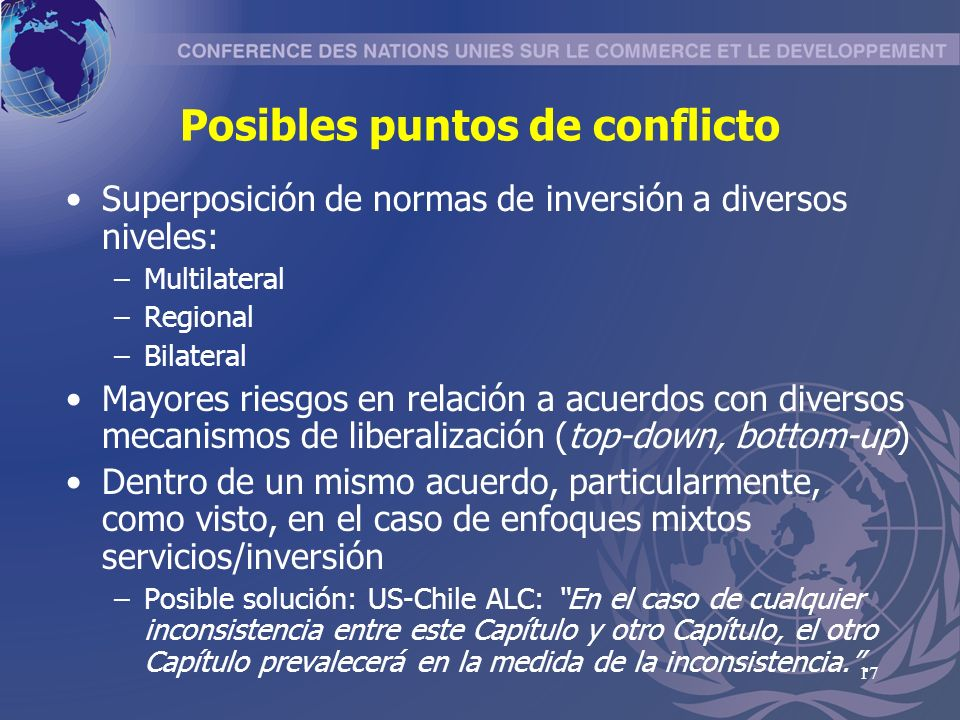 Posibles puntos de conflicto