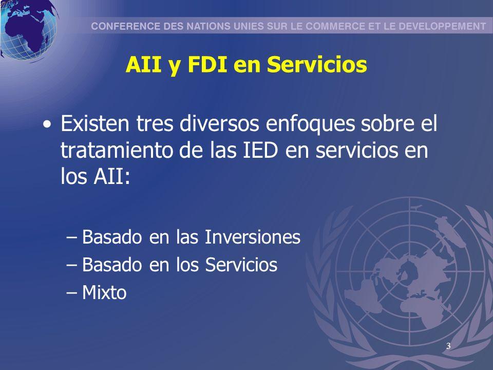 AII y FDI en Servicios Existen tres diversos enfoques sobre el tratamiento de las IED en servicios en los AII: