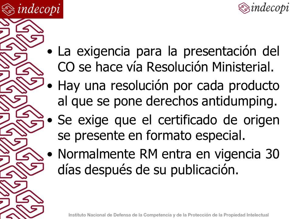 La exigencia para la presentación del CO se hace vía Resolución Ministerial.